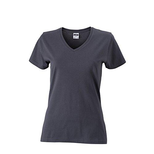 JAMES & NICHOLSON Damen T-Shirt, Einfarbig Grafitgrau