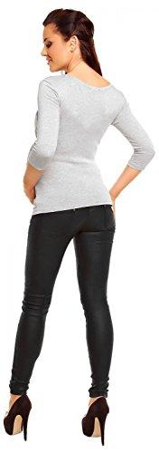 Zeta Ville - Maternité - Top jersey de grossesse - Haut extensible - femme- 338c Gris Chiné