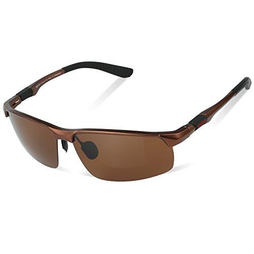 DUCO Herren Heiße Mode Driving Sonnenbrille Polarisierte Brille Sport Eyewear Angeln Golf mit Al-Mg Rahmen 8188 (Braun)