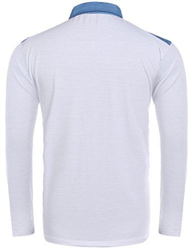 Finejo Poloshirt Herren Langarm Einfarbig Jeansanteil Freizeit Polo Shirt für Männer Weiß