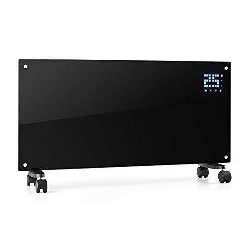 Klarstein Bornholm Smart Konvektions-Heizgerät, 2000 W, SmartHeat Design: WiFi-Verbindung, LED-Display, 24-h-Timer, 2 Heizstufen: 1000/2000 W, IP24: Spritzwassergeschützt, Fernbedienung, schwarz