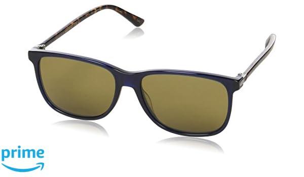 Gucci Herren Sonnenbrille GG0017S 005, Blau (Bluee/Brown), 57