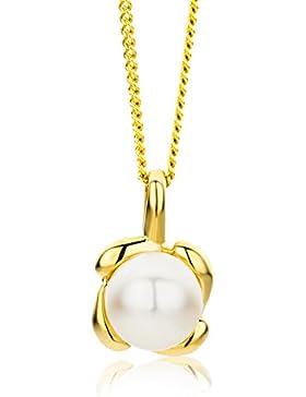 Miore Damen-Halskette 9 Karat (375) Gelbgold Süßwasser-Zuchtperle Anhänger 45cm Kette