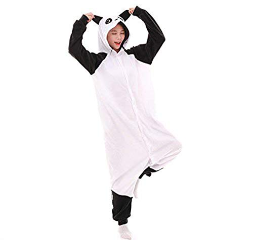 Unicorn Schlafanzug Kostüme Party Overalls Halloween Karneval Neuheit Schlafanzüge Unisex Erwachsene Einhorn Pyjama Tier Flanell Cosplay Jumpsuits (Panda, L (Fit Height 66.1