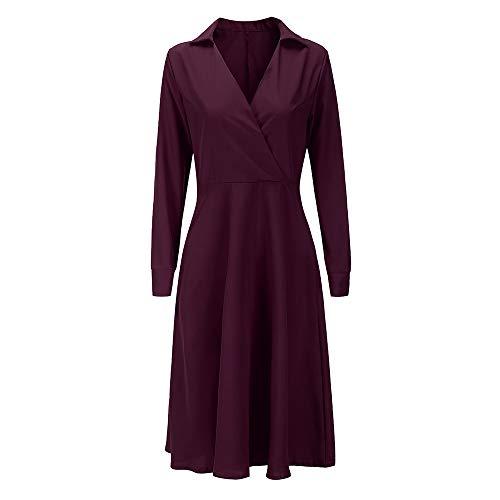 Linkay Ladies Women Solid Color Dresses V Neck -