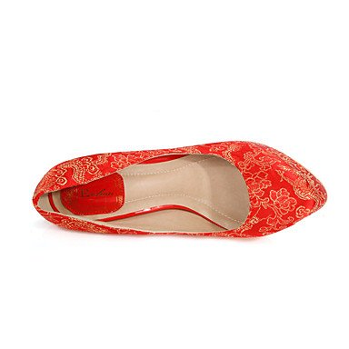 LFNLYX Frauen Fersen Frühling Sommer Herbst Komfort Bestickte Schuhe Silk Hochzeitsfest & Abendkleid Stiletto Ferse Blume Red Walking Red