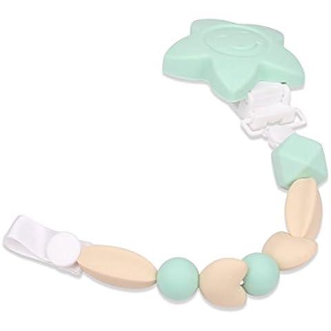 cocogo Ciuccio Clip per dentizione, Baby ragazza o ragazzo–Ba da bambino ciuccio catena ciuccio e Massaggiagengive in Silicone con anello per dentizione, con perle perline (polvere arancione e verde)