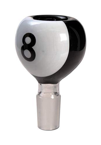 bong-discount Wasserpfeifen-Kopf, Glas-Kopf, Steckkopf \'\'8 Ball\' - Bowl im Design Einer Billardkugel\' NS 14 (14,5 mm) schwarz
