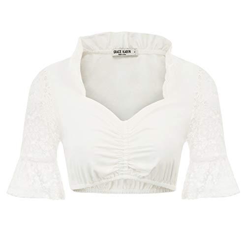 GRACE KARIN Steampunk Bluse Damen Weiss Renaissance Hemd S CL14-2