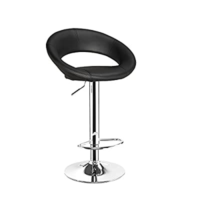 Eclipse Black Breakfast Kitchen Leather Bar Stool Barstools x 2
