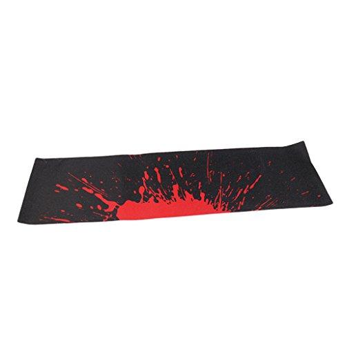 Baoblaze Skateboard Griptape Aufkleber Anti-Rutsch Sandpapier für Longboard Deko und Schutz - Schwarz und Rot (Longboard Grip Tape Rot)