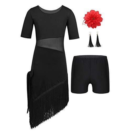 CHICTRY Kinder Mädchen Tanzkleid Latein Salsa Cha Cha Tanzkleidung Set: Flapper Kleid mit Quaste, und Shorts+Ohrringe+Haarspange Karneval Fasching Kostüm Schwarz 152-164/12-14Jahre (Latein Gesellschaftstanz Kostüm)