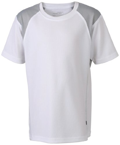 James & Nicholson Herren Lauf T-Shirt Running T weiß (white/silver) Medium