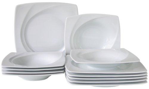 CreaTable, 13162, Série Célebration Blanc, Service de table 12 pièces