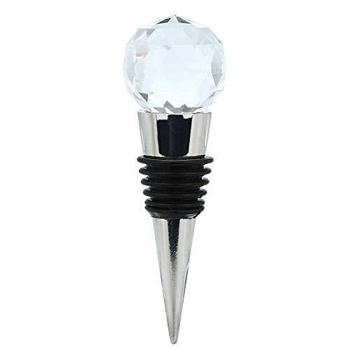 FiedFikt Weinkorken mit Diamant-Kristallen, Edelstahl, Silikonring, Sektflaschenverschluss, See-Edelstahl, Kristallspitze, Diamant-Form, 30 mm