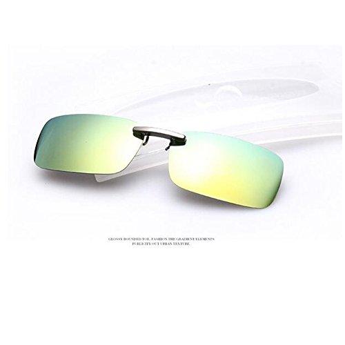 Zimo Polarisierte Unisex Sonnenbrille Clip Brillen Pol Aufsatz für Brillenträger (Gelb mit Grün)