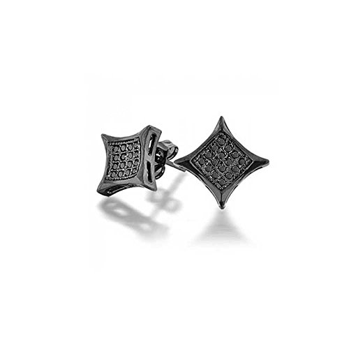 Bling Jewelry Simulated Onyx CZ Kite Micro Pave Mens Stud Earrings 7mm 925 Sterling Silver