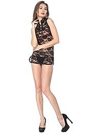 Diovanni Netted French Cluffon Nightwear (Black with Net Flower Design)