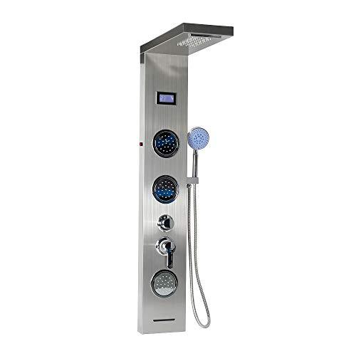 Flyelf pannello colonna doccia multifunzione in acciaio inossidabile con idromassaggio (led+lcd)