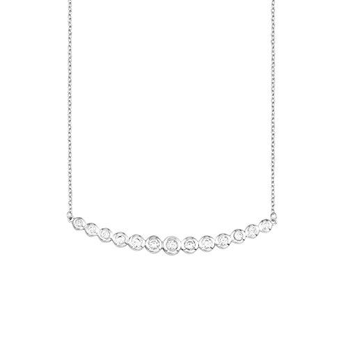 s.Oliver Damen-Kette mit Anhänger glänzend 925 Silber rhodiniert Zirkonia weiß 45 cm