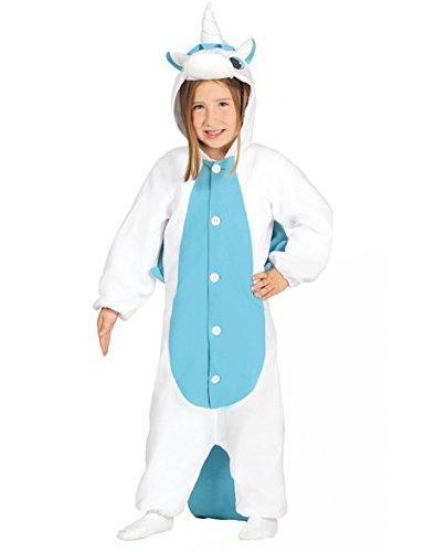Guirca Einhornkostüm blau Overall Pyjama für Kinder Kinderkostüm Mädchenkostüm Tierkostüm 98-146, (Weißes Einhorn Kostüm)