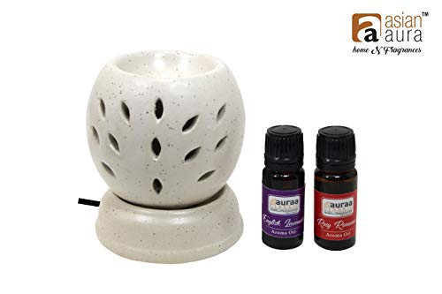 Asianaura Electric Diffuser/Electric Burner 008-W for Home/Office Multipurpose, This Pack 2 10 ml Aroma Oil in Fragrance of Rose and Lavender