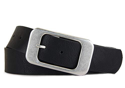 Vanessa & Melissa Schlichter Damen Gürtel mit klassischer silberner Schnalle, Breite ca. 3,7 cm, schwarz, 90cm - Breite Gürtel