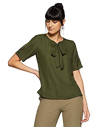 KRAVE Women's Plain Regular Fit Top (AW18KRAVE1173_Olive_S)