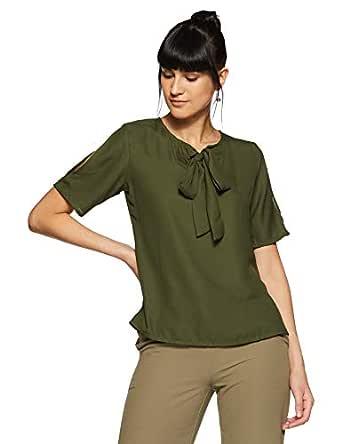 KRAVE Women's Plain Regular Fit Top (AW18KRAVE1173_Olive_S)