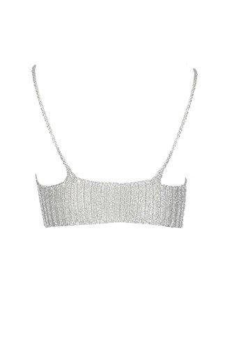 Mesdames Celebrity Inspiré Taille tricotée Metallic Bralet Eur 36-42 Argent