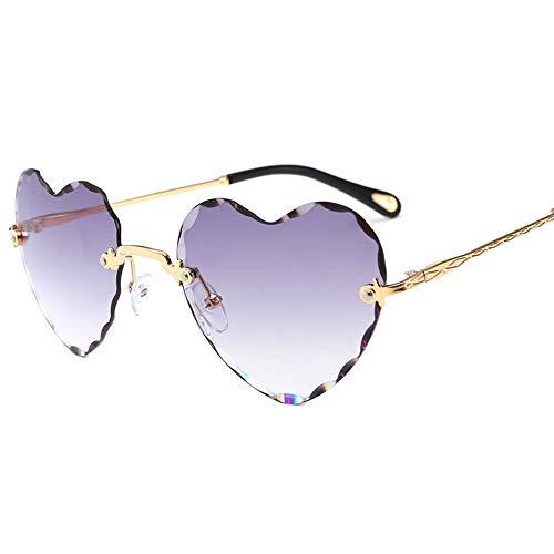 KSDSDHFK Damenmode Sonnenbrillen UV-Schutz Sonnenbrillen Rahmenlos trimmen Pfirsich Herz Sonnenbrille Outdoor Strand Spiegel Sonnenschirm Spiegel, A6