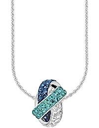 Amor Damen-Kette 45 cm mit Anhänger 925 Sterling Silber rhodiniert veredelt mit Kristallen von Swarovski blau türkis