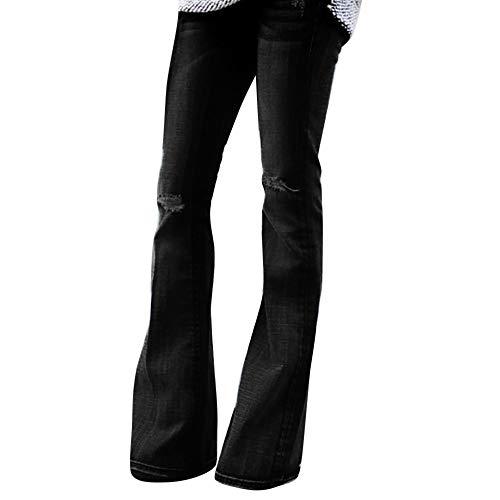 MYMYG Mode Frauen Jeans Denim Loch Weibliche Mittlere Taille Stretch dünne Flare Hosen Casual Schmeichelhaft Ausgestellte Jeans Sexy Kick Flare Bootcut Freizeithose Stretch-kick Flare Jeans