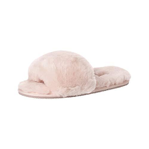 soxo Lammfell Hausschuhe Damen | Frauen Warme Fluffy Pantoffeln | Bequeme Fellhausschuhe in Rosa Farbe (2 Farbe), Hellrosa, 37 / 38 EU