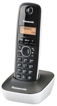 Panasonic KX-TG1611SPW - Teléfono fijo inalámbrico digital, negro con blanco
