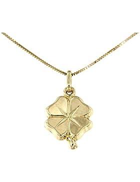 Lucchetta Damen-Halskette Kleeblatt 14 Karat 585 Gelbgold Anhänger 42cm