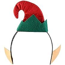 Naisicatar Sombrero del Duende del ayudante de Santa Feliz Navidad con  Lentejuelas Diadema con Orejas de d46deb97a7b