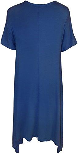 WearAll - Grande Taille Crâne Sequin Stud à manches courtes mouchoir Hem Haut - Hauts - Femmes - Grande Tailes - 42 a 56 Bleu royal