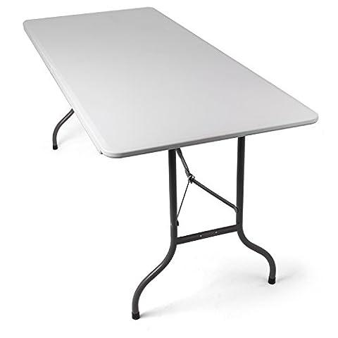 Table pliable d'exterieur en blanc, parfait pour les réceptions ou buffet ou table d'appoint pour jardin, terrasse et balcon – Table en plastique pliante avec poignée de transport, par Park Alley