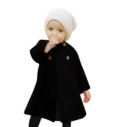 Rosennie Baby Mädchen Herbst Winter Jacke Mantel Kinder Umhang Typ Wolljacke Warm Normallacks Rundhals Outwear Mantel (18 Monate Alt, Schwarz) (Großes Mädchen Winter Mäntel Größe 18)