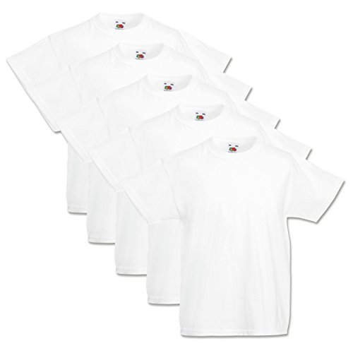 5 Fruit of the loom Kinder T-Shirts Valueweight 104 116 128 140 152 Diverse Farbsets auswählbar 100% Baumwolle (116, Weiss)