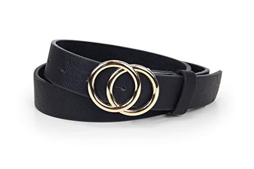57b44ad9d6b788 irisaa Schmaler Damen Gürtel mit runder Metallschnalle zwei Ringen, 2,8 cm  breit und