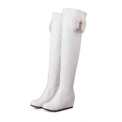 AgooLar Damen Mittler Absatz Hoch-Spitze Rein Reißverschluss Stiefel mit Anhänger Weiß