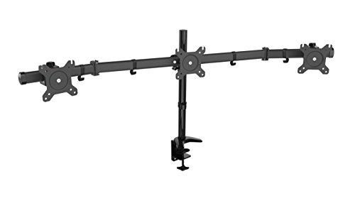 HFTEK 3-Fach Monitor TV Halter Mounts Tischhalterung für 3 Bildschirme von 15 bis 24 Zoll – VESA 75/100 (HF330C) (3 Monitorständer 24 Zoll)