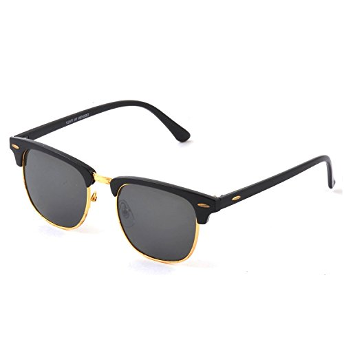 Silver Kartz Wayfarer Clubmaster Unisex Sunglasses (wy035|40|Grey)