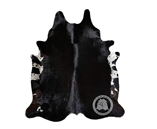 Teppich aus Kuhfell, Farbe: Shwarz Natürlich, Größe circa 180 x 210 cm, Premium - Qualität von Pieles del Sol aus Spanien