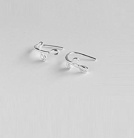 Gold butterfly@ Boucles d'oreilles en Argent Sterling Boucles d'oreilles à Feuilles Fraîches Version en