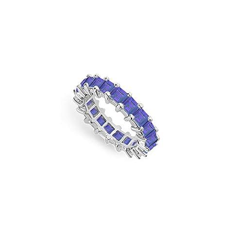 Blue Sapphire Eternity Band Platinum 4.00 CT TGW