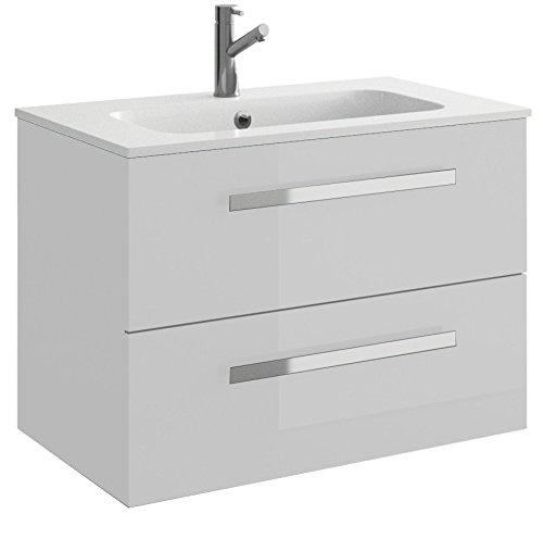 Cygnus Bath Evora 800 - Mueble de baño, 2 cajones, con cierre amortiguado, 80 cm, color blanco brillo