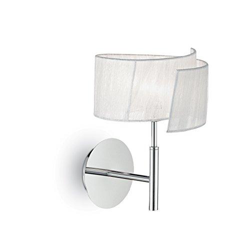 L'Aquila Design Arredamenti IDEAL LUX Lampe Nastrino weiß und Chrom Metall Stoffschirm 1 Licht TL1 -